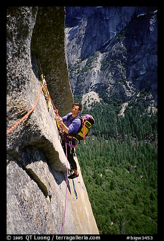 The South Face: Frank on the traverse pitch. Washington Column, Yosemite, California (color)