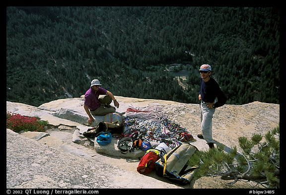 Sorting the gear at the top of the wall. El Capitan, Yosemite, California (color)