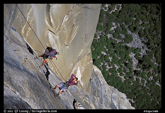 Climbing photographers at work. Yosemite, California (color)