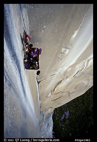 Portaledge bivy on the Dihedral wall. Yosemite, California (color)