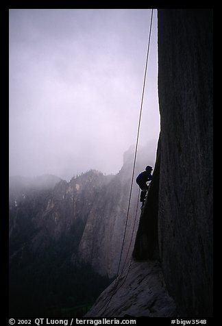 During a stormy day on an attempt  on  Mescalito, El Capitan. Yosemite, California (color)
