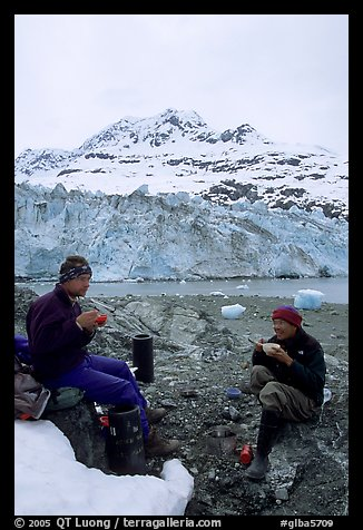 Eating breakfast in front of Lamplugh Glacier. Glacier Bay National Park, Alaska (color)