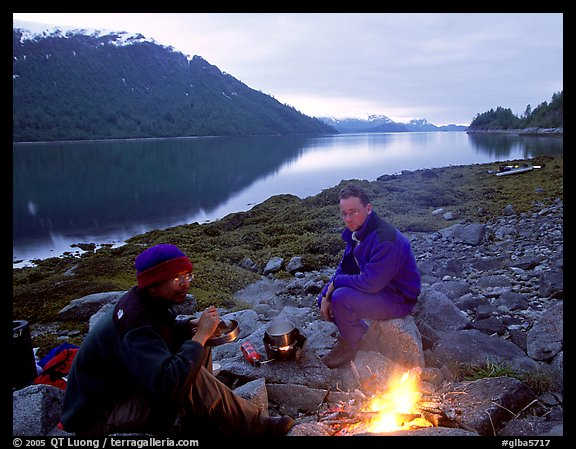 Campfire in Charpentier Inlet. Glacier Bay National Park, Alaska (color)