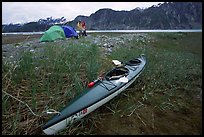 Camp on the flats near McBride Glacier with kayak parked nearby. Glacier Bay National Park, Alaska (color)