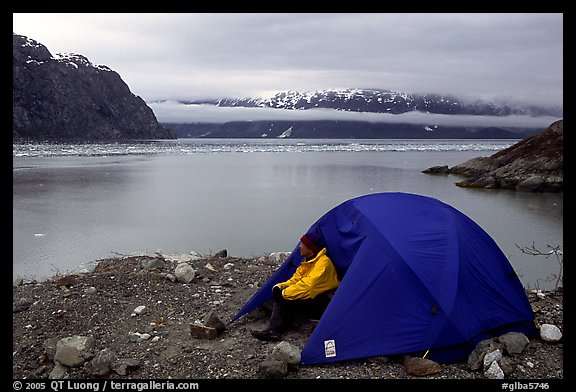 Camp on an outcrop overlooking the East Arm. Glacier Bay National Park, Alaska (color)