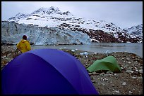 Park visitor looking, camp in front of Lamplugh Glacier. Glacier Bay National Park, Alaska