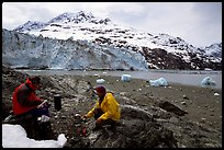 Eating in front of Lamplugh Glacier. Glacier Bay National Park, Alaska (color)