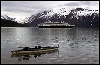 Kayak and cruise ship, East arm. Glacier Bay National Park, Alaska