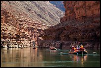 Water-level view of  rafts in Marble Canyon. Grand Canyon National Park, Arizona