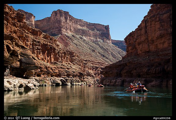 Rafting in in Marble Canyon. Grand Canyon National Park, Arizona (color)