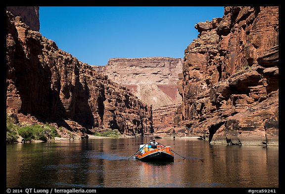 Raft in Marble gorge. Grand Canyon National Park, Arizona (color)