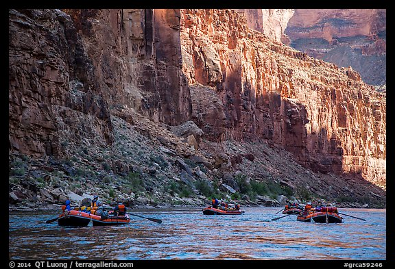 Raft convoy in Marble Canyon. Grand Canyon National Park, Arizona (color)
