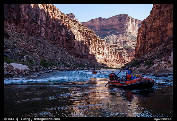 Rafts before rapids, Marble Canyon. Grand Canyon National Park, Arizona (color)