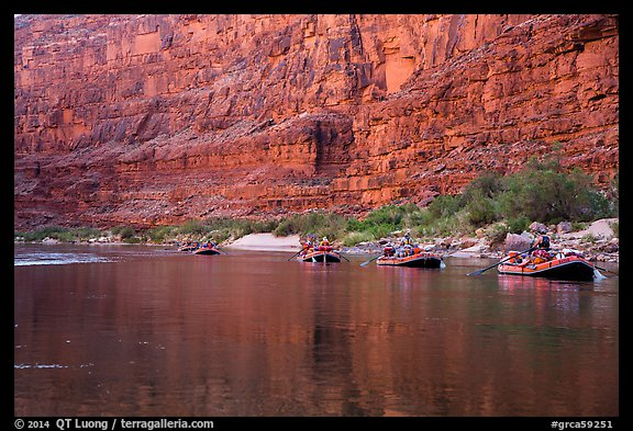 Rafts in tranquil waters below redwall, Marble Canyon. Grand Canyon National Park, Arizona (color)