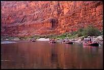 Rafts in tranquil waters below redwall, Marble Canyon. Grand Canyon National Park, Arizona