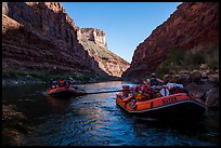 Rafts and reflections on river, Marble Canyon. Grand Canyon National Park, Arizona