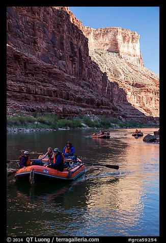 Late afternoon rafting in Marble Canyon. Grand Canyon National Park, Arizona (color)