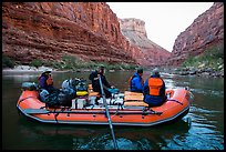 Oar raft in Marble Canyon, early morning. Grand Canyon National Park, Arizona