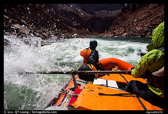 Riding splashy rapids in raft. Grand Canyon National Park, Arizona (color)