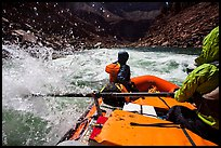 Riding splashy rapids in raft. Grand Canyon National Park, Arizona ( color)