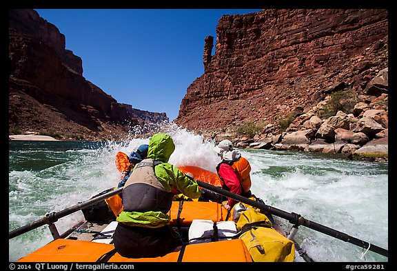 Raft riding rapids below Indian Dick. Grand Canyon National Park, Arizona (color)