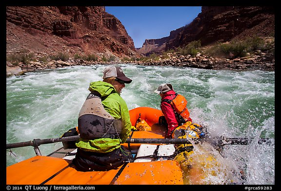 Raft in whitewater on Colorado River. Grand Canyon National Park, Arizona (color)