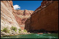 Rafts dwarfed by huge Redwall limestone canyon walls. Grand Canyon National Park, Arizona ( color)