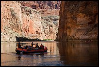 River-level view of raft, shadows, and cliffs, Marble Canyon. Grand Canyon National Park, Arizona