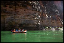 Oar raft on green waters below canyon walls, Marble Canyon. Grand Canyon National Park, Arizona ( color)