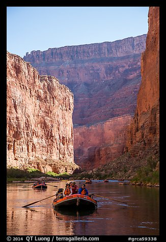 Rafts and towering steep cliffs in  Marble Canyon, early morning. Grand Canyon National Park, Arizona (color)