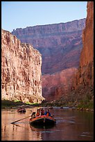 Rafts and towering steep cliffs in  Marble Canyon, early morning. Grand Canyon National Park, Arizona ( color)