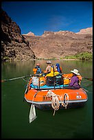 Oar-powered raft on calm stretch of the Colorado River. Grand Canyon National Park, Arizona ( color)