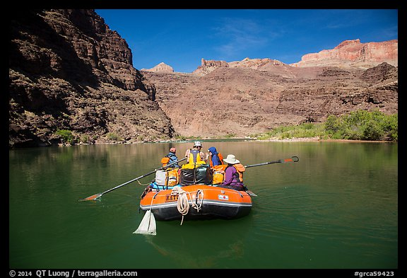 Oar-powered raft on tranquil section of the Colorado River. Grand Canyon National Park, Arizona (color)
