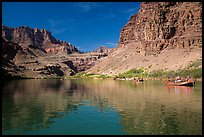 Oar-powered rafts and cliff reflections. Grand Canyon National Park, Arizona ( color)
