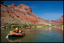 Rafts in colorful section of Grand Canyon. Grand Canyon National Park, Arizona ( color)