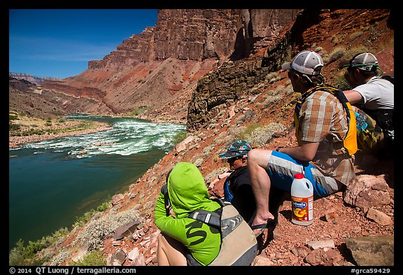River runners spotting Hance Rapids. Grand Canyon National Park, Arizona (color)