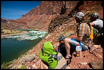 River runners spotting Hance Rapids. Grand Canyon National Park, Arizona ( color)