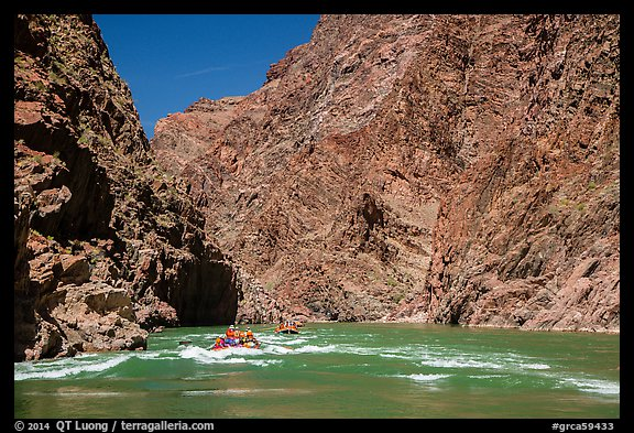 Rafts and rapids in Granite Gorge. Grand Canyon National Park, Arizona (color)