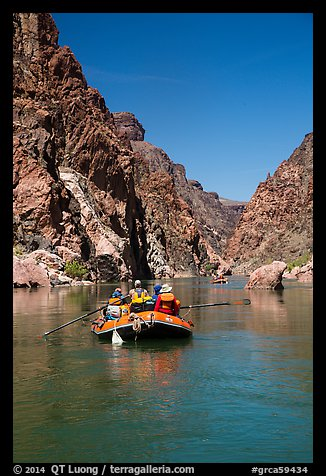 Oar-powered rafts in calm section of Granite Gorge. Grand Canyon National Park, Arizona (color)