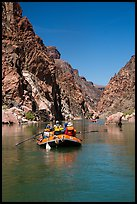 Oar-powered rafts in calm section of Granite Gorge. Grand Canyon National Park, Arizona ( color)