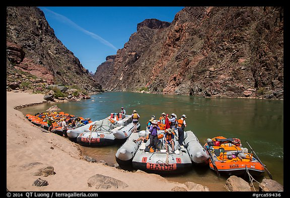 Oar-powered and motor-powered rafts at beach. Grand Canyon National Park, Arizona (color)