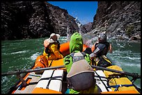 Oar-powered raft hits wave in rapids. Grand Canyon National Park, Arizona