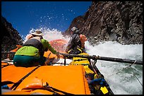 Oar-powered raft in whitewater rapids. Grand Canyon National Park, Arizona