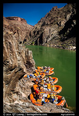 Rafts moored near month of Clear Creek canyon. Grand Canyon National Park, Arizona (color)