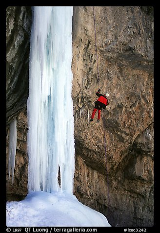 Rappeling from an ice climb in Rifle Canyon, Colorado. USA (color)