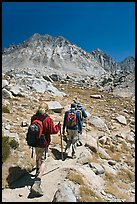 Hikers on trail, Dusy Basin. Kings Canyon National Park, California