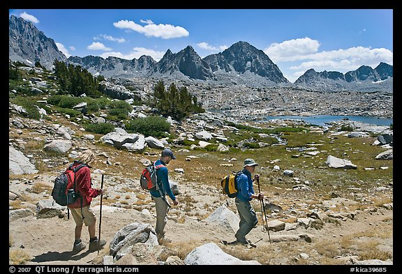 Hiking on trail, Dusy Basin. Kings Canyon National Park, California