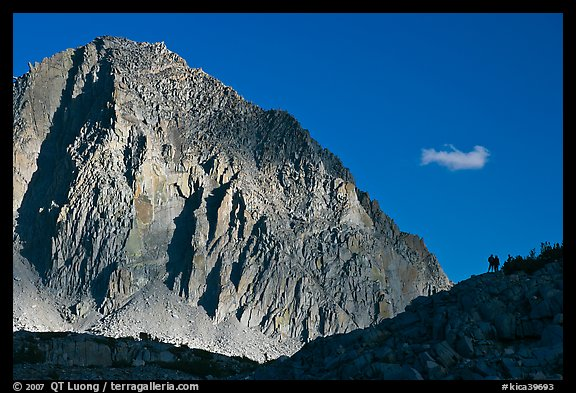People on ridge in front of Mt Giraud. Kings Canyon National Park, California (color)