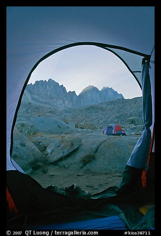 Palissades from tent door, Dusy Basin. Kings Canyon National Park, California (color)