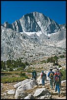 Hikers and Mt Giraud, Dusy Basin. Kings Canyon National Park, California